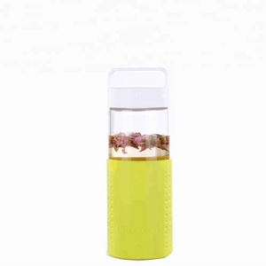 Eco reusable bottle bpa free water glass with portable cap