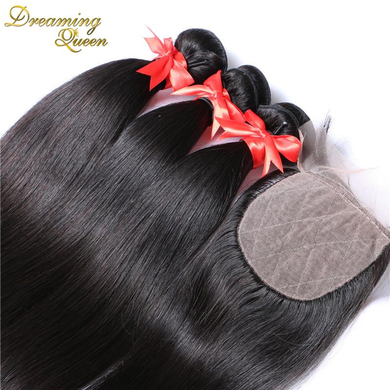 Brazilian Straight Hair Weave Silk Base Closure With Bundles Brazilian Virgin Hair With Closure Rosa Hair