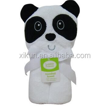 100% cotton terry panda design hooded children towel