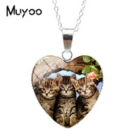 2019 Women New Lovely Cute Kitten Baby Little Cats Sweet Patterns Heart Pendants Cute Kittens Jewelry Silver Chains Necklace