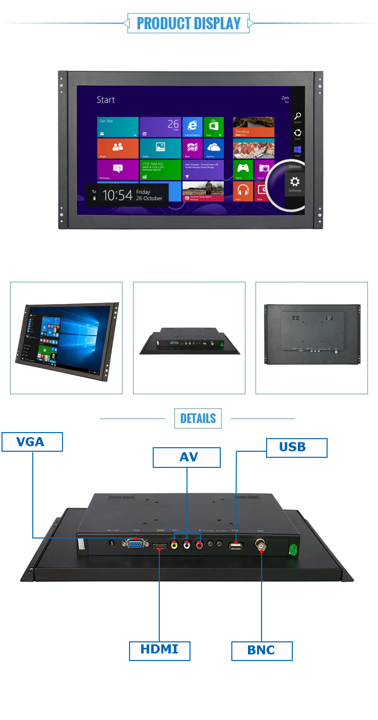 "Factiry direct selling 11.6"" 13.3"" 14.1"" 15.6"" 17.3"" 21.5"" full HD monitor 1920*1080 open frame lcd monitor for industrial"