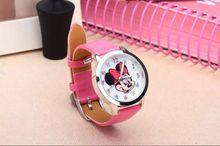 Ocasional Encantador Mickey Relógio Para Crianças Dos Desenhos Animados Relógios Das Senhoras Das Mulheres de Couro PU Vestido de Quartzo Relógio de Pulso Relogio feminino Reloj Mujer