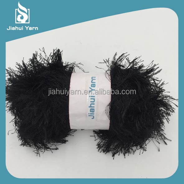 fancy yarn cheap wholesale high quality 100%polyester pine feather eyelash yarn with balls for hand knitting