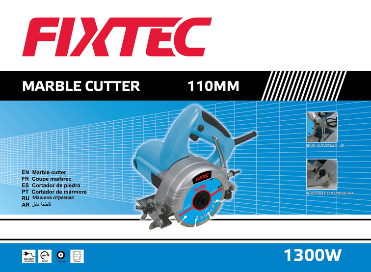 FIXTEC Electric Hand Tool 1300W 110mm Marble Cutter Used