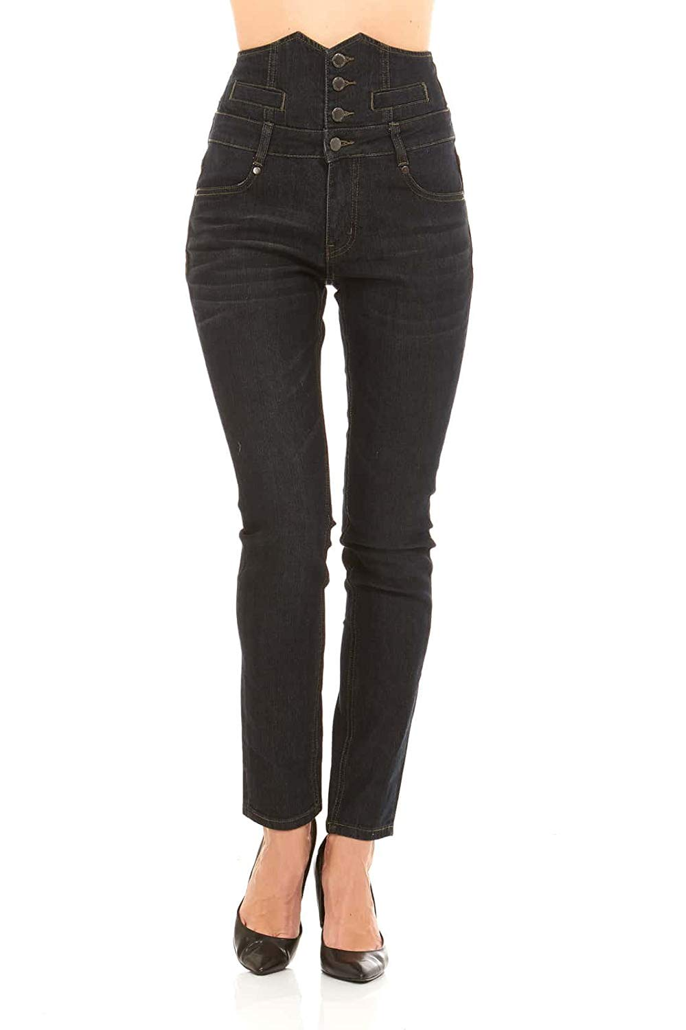 82a2eafafe Get Quotations · Women's Classic High Waisted Denim Skinny Jeans with  button front by Red Jeans