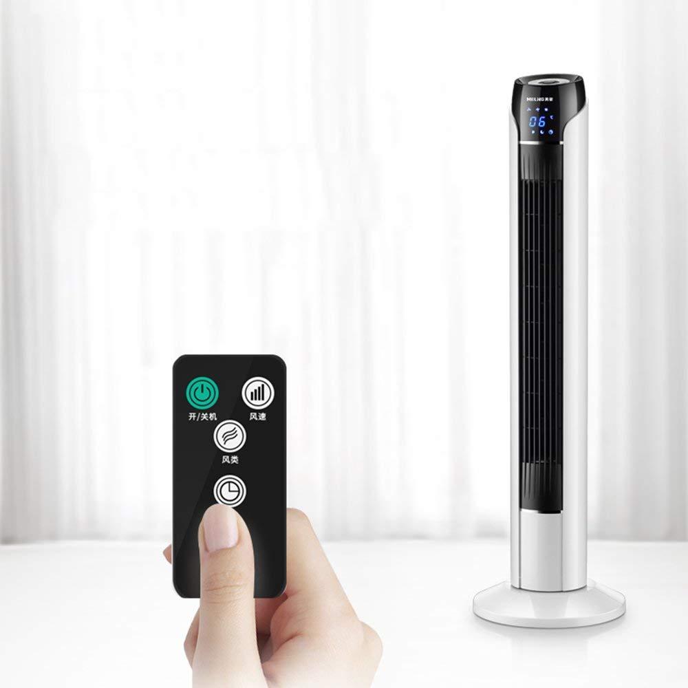 DNSJB Tower Fan Electric Fan Home Floor Fan, Silent Remote Control Leafless Fan, White 3 Fan Speeds