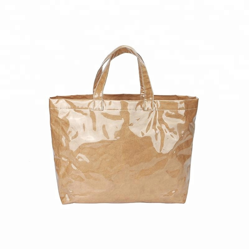 3330d433560a China Supplier Brown Tyvek Paper Tote Bag With Clear Pvc