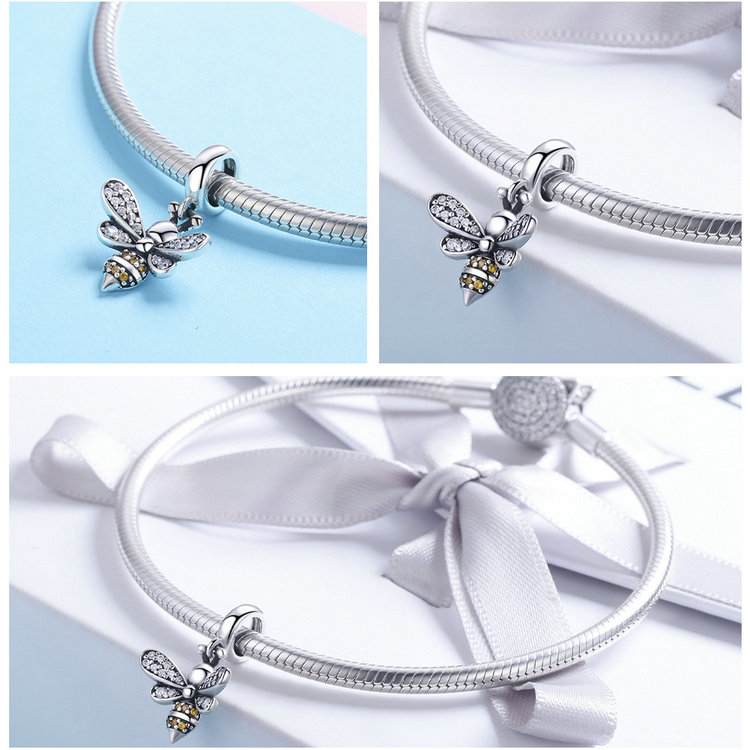 Attractive Design Bee Charm Bead 925 Sterling Silver Charm