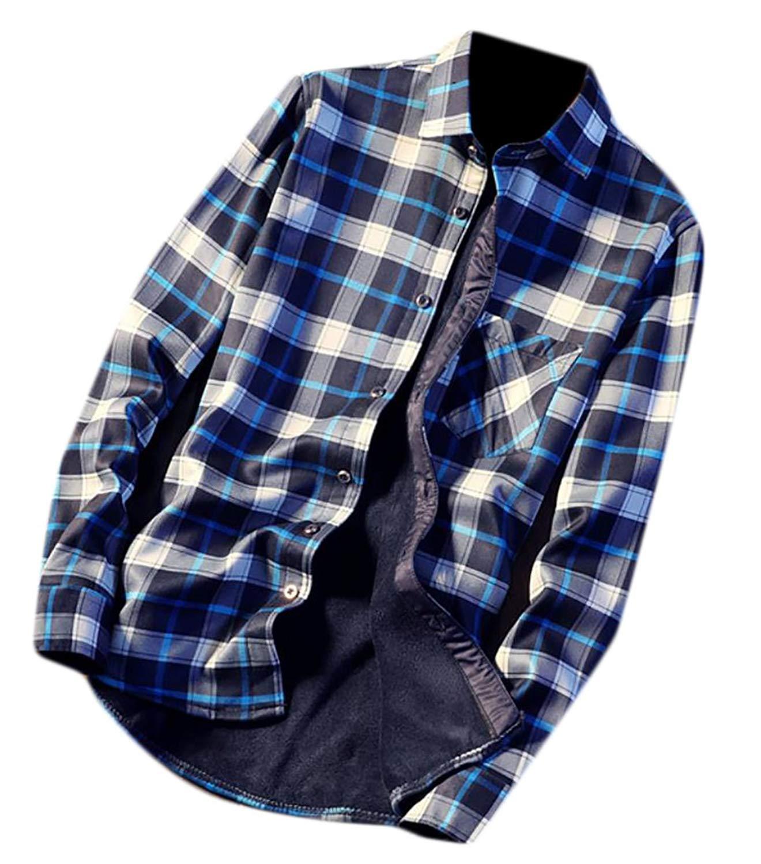 Jmwss QD Mens Slim Fit Fleece Lined Plaid Thermal Flannel Shirt
