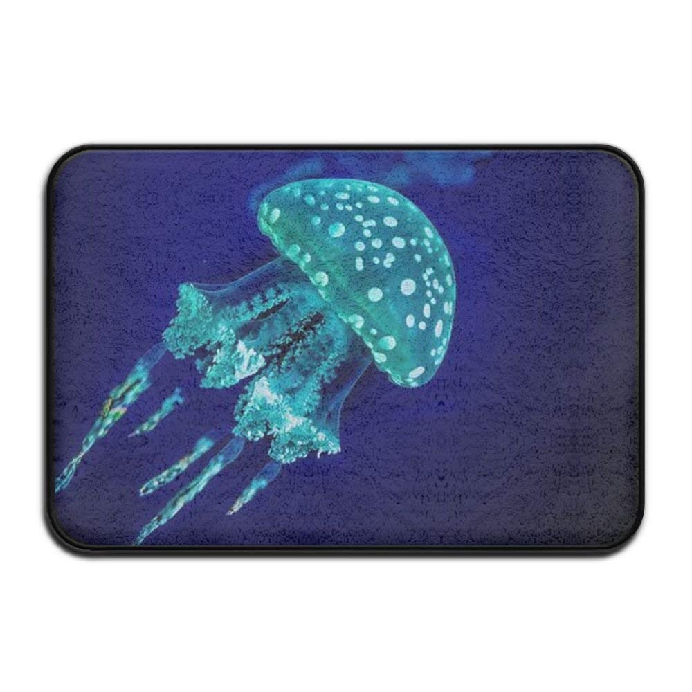 HOMESTORES Colorful Watercolor Under Sea Ocean Jellyfish Bath Mat - Memory Foam Shower Spa Rug Bathroom Kitchen Floor Carpet Home Decor With Non Slip Backing17x24 Inch
