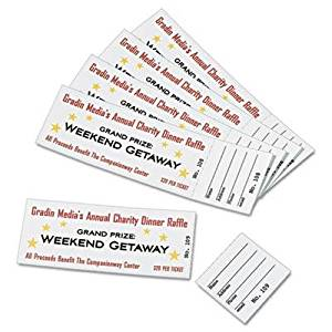 "Avery - 3 Pack - Printable Tickets W/Tear-Away Stubs 1-3/4 X 5-1/2 Matte White 200 Tickets/Pk ""Product Category: Paper & Printable Media/Printer Paper"""