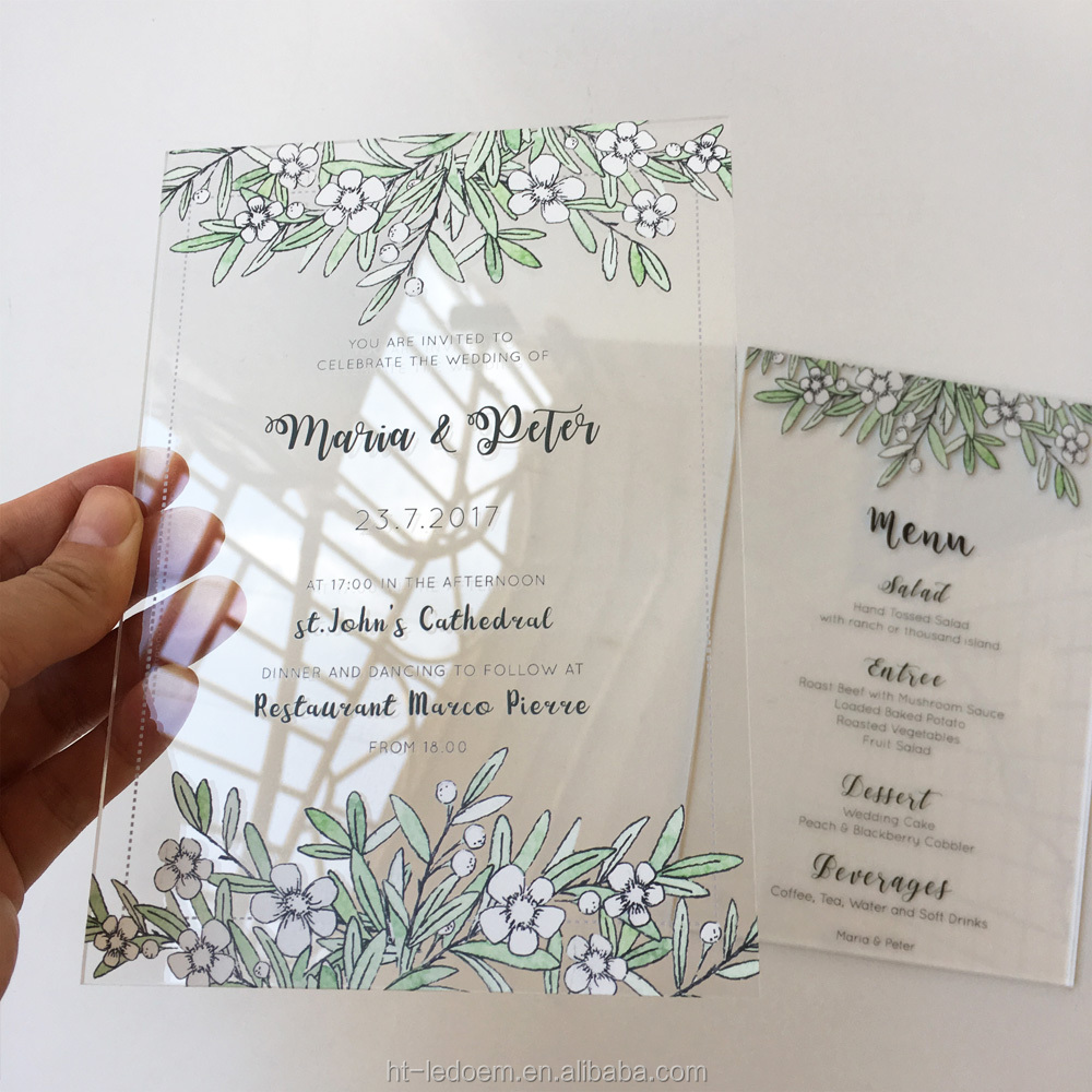 100 Sets Per Lot Spring Watercolor Floral Printable Wedding Invitation card