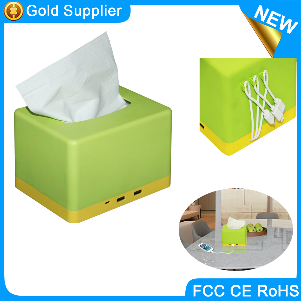 build-in type C USB cable 10000mah paper napkin box charger station for resteraunt KTV