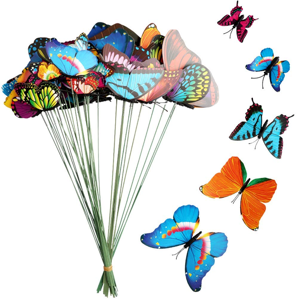 Kicosy 40 Pack Artificial Butterfly Garden Stake Garden Ornaments & Patio Decor Butterfly Party Supplies Garden Stakes Decorative For Party Outdoor Yard Decorations (4CM/7CM/9CM/12CM/15CM)