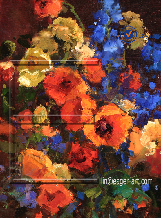 Shenzhen Wall Decorative Hand Painted Canvas Abstract Art Oil Painting Pictures Of Flowers