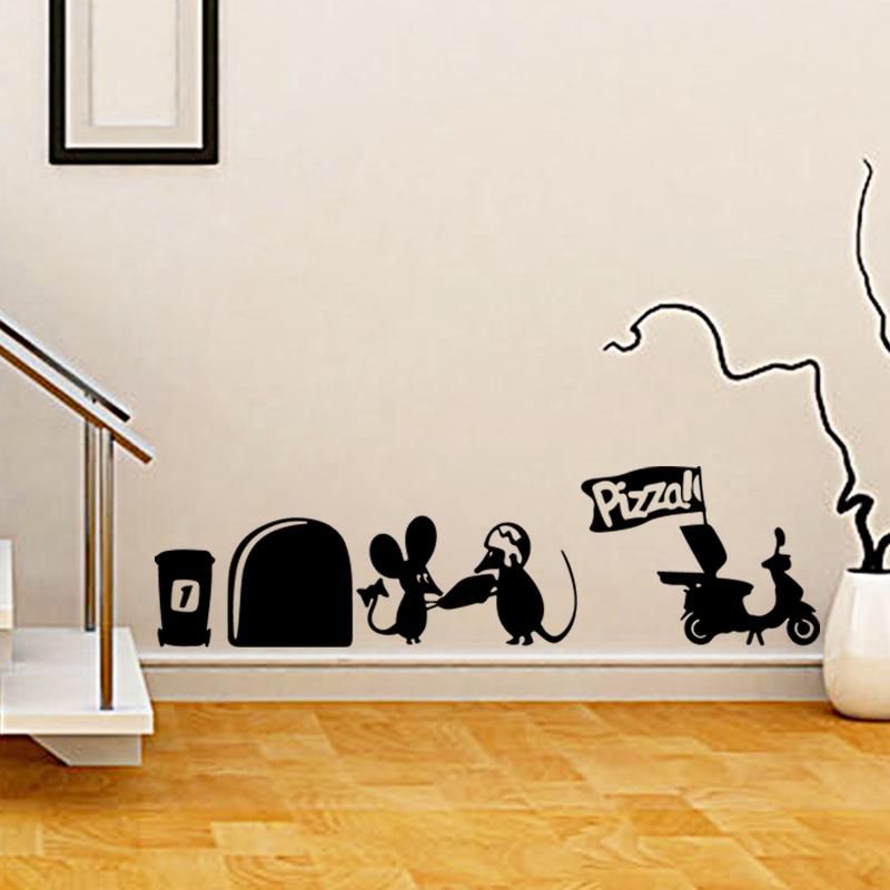 arte nuevo diseo de la decoracin del hogar del ratn lindo pizza etiqueta de la pared removible decoracin de la casa de la hi
