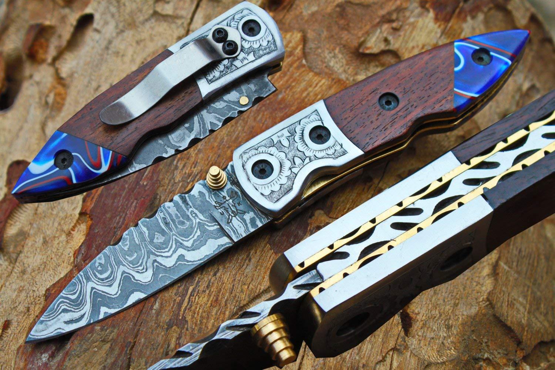 "Damascus 3.0"" Folding knife w/Steel Engraved Bolsters, Clip, File-Work, Liner Lock,Oak Wood, Kirinite & Sheath cover UDK-A-D-F-91"