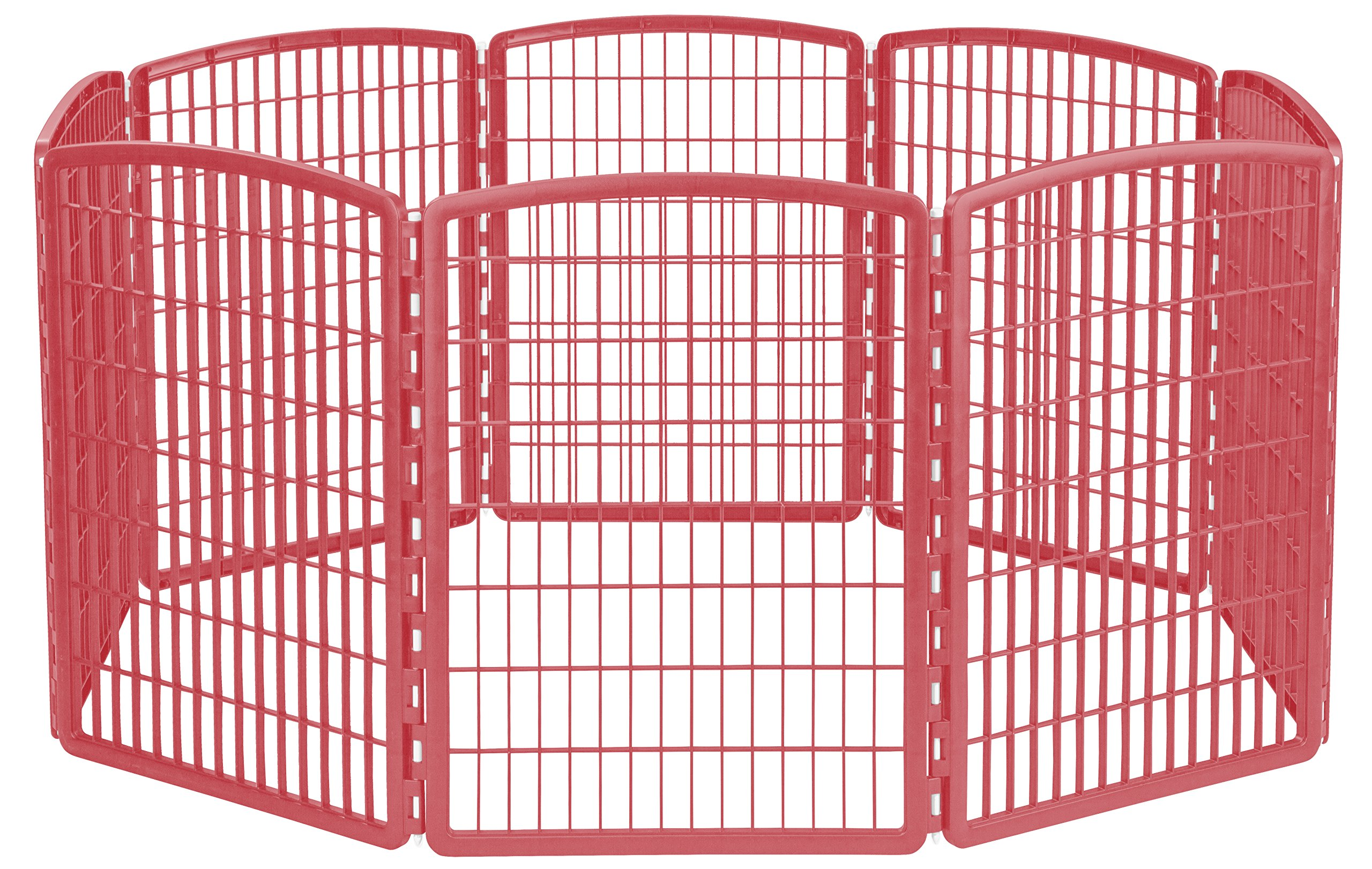 IRIS 34'' Exercise 8-Panel Pet Playpen without Door, Red