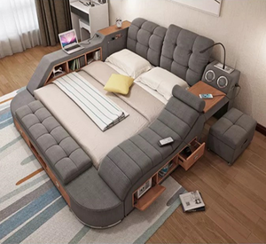 2018 Hot sale Multifunction leather And fabric bed with massager/LED/Locker/USB audio for bedroom furniture