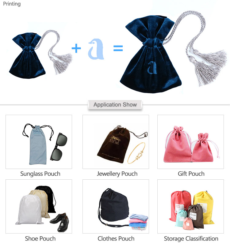 Custom Printed Small transparent drawstring bag Promotional Velvet Jewelry Packaging Bag Luxury Satin Gift Pouch Velvet Bag
