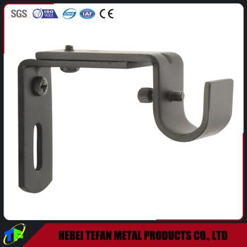 Black Powder Drywall Mount Adjustable Curtain Rod Bracket