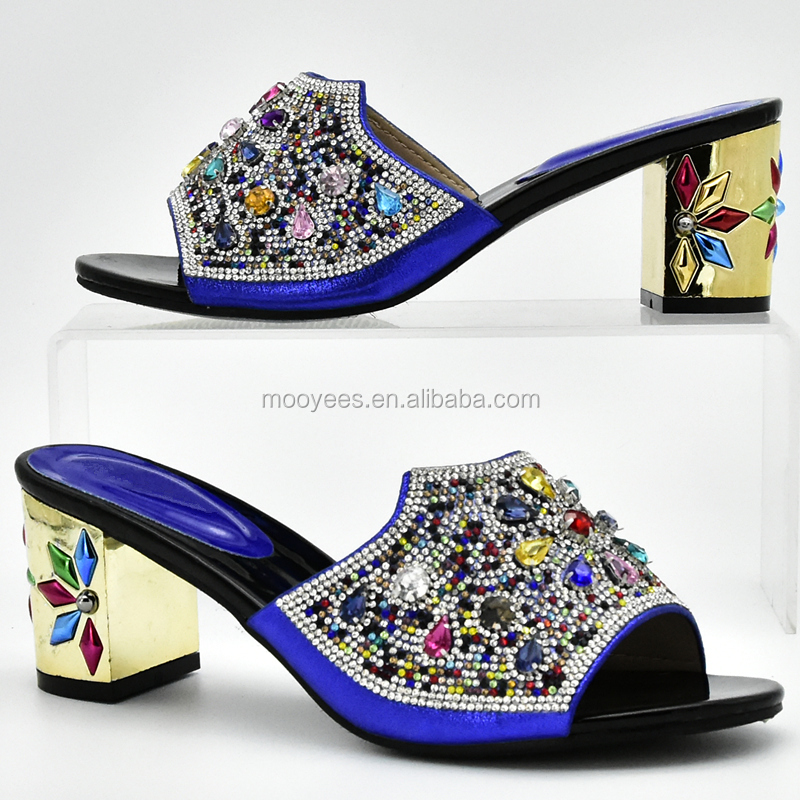 royal color PU add stone italian matching shoe and bag set african wedding shoes