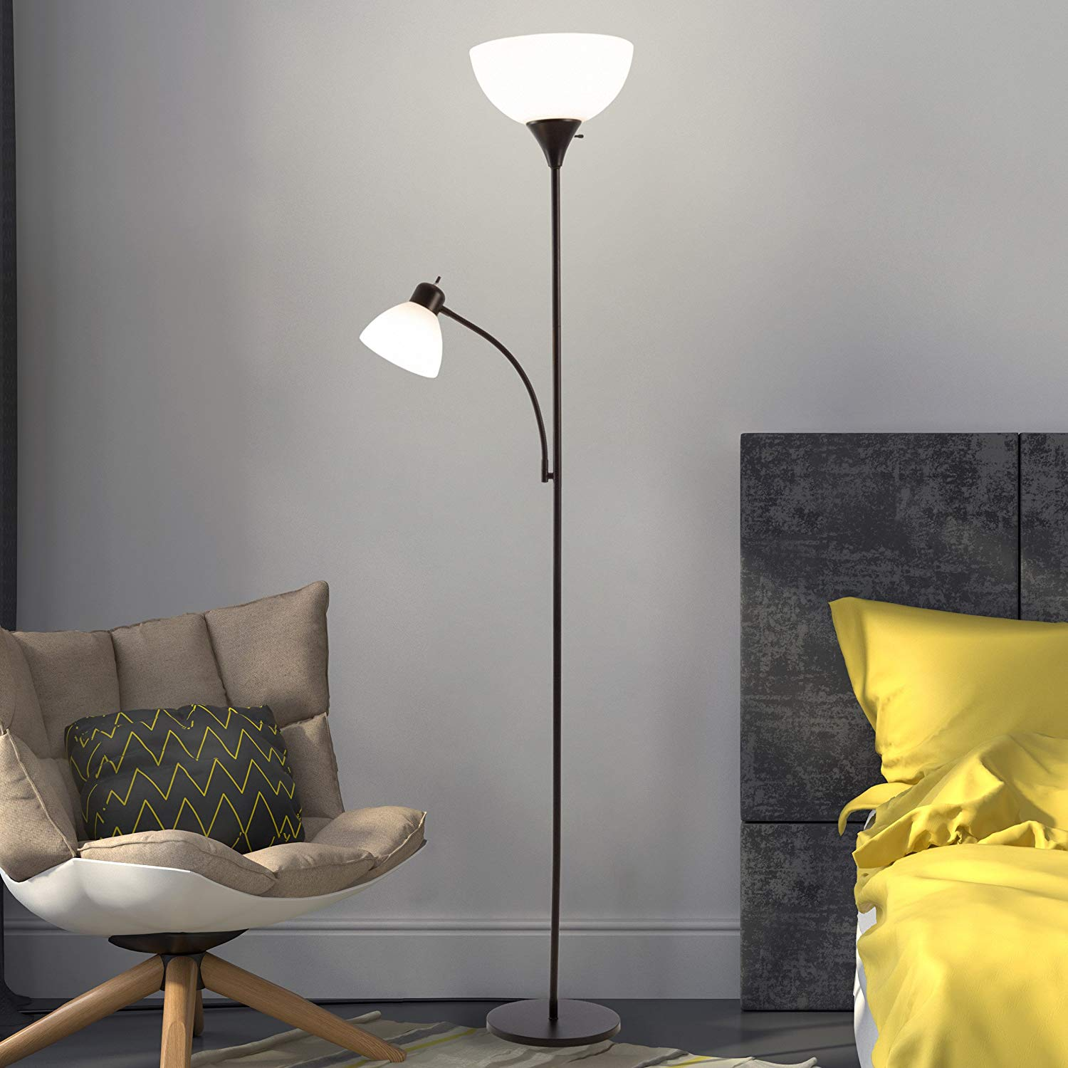 Lavish Home 72-TORCH-4 4 Torchiere Floor Lamp with Reading Light-Sturdy Metal Base, Heat Resistant Plastic Shade-Energy Saving LED Bulbs Included, Black Finish