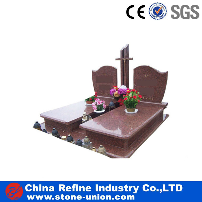 China cross reddish brown double headstone for sale