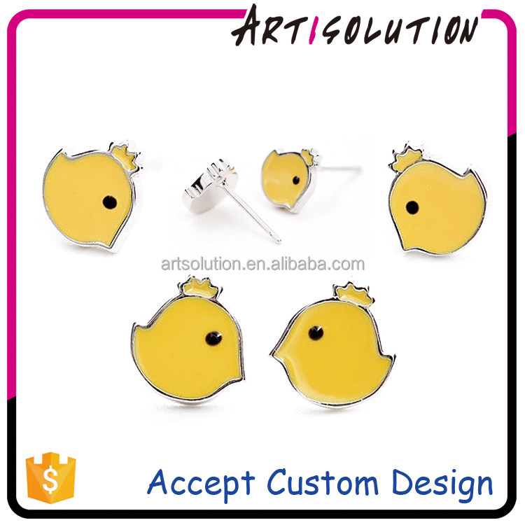 Wholesale Cute Chicken Earrings Custom Chick Enamel Silver Earring