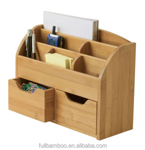 Bamboo multifunctional desk organizer desktop storage