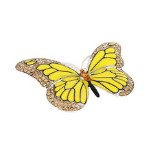 Wholesale Alibaba Factory Fashion Yellow Enamel Crystal Stone Animal Butterfly Brooch