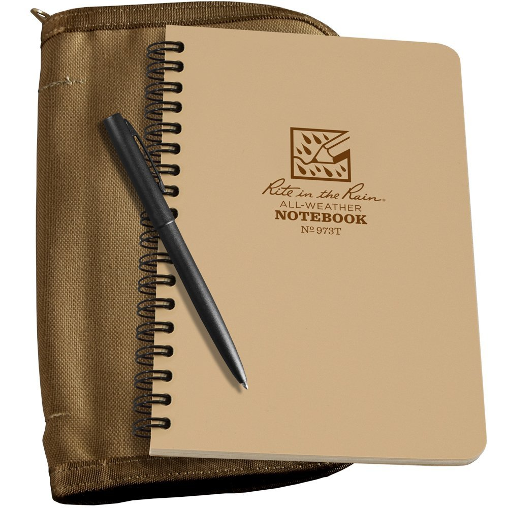 "Rite in the Rain All-Weather Side Spiral Kit: Tan CORDURA Fabric Cover, 4 5/8"" x 7"" Tan Notebook, and All-Weather Pen (No. 973T-KIT)"