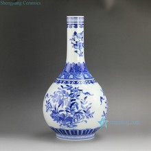 RZFD01 14.5 inch Jingdezhen Qing dynasty Kangxi period reproduction Bright Blue White Peach design Porcelain Vases