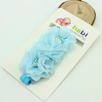 blue chiffon flower hair accessories bulk hair accessories with green bell 1.5 X 36 cm