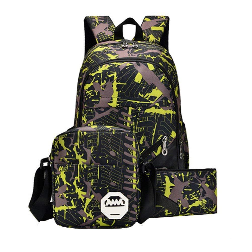Waterproof Oxford Fabric Backpack+Shoulder Bag +Handbag, Durable Travel Bag School Bag (yellow)