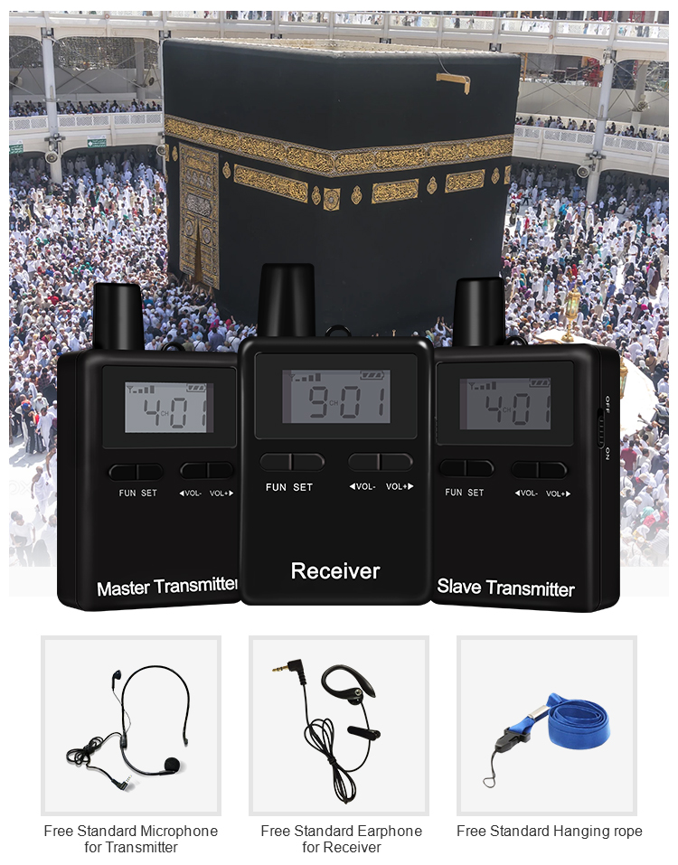 45 devices One Set Portable Whisper Audio Tour Guide System With Waterproof Bag For Hajj Tour