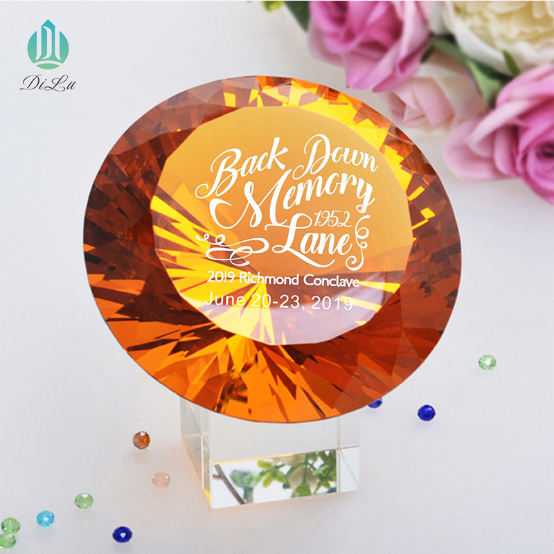Decorative Beautiful Shining gold 60mm 80mm 100mm DILU Large GOLD yellow Crystal Glass Stone Diamond for Wedding GIFT
