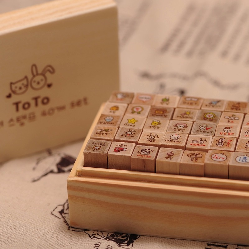 40 Pcs Set Mini Cute Rabbit Wooden Rubber Stamp Gift Box