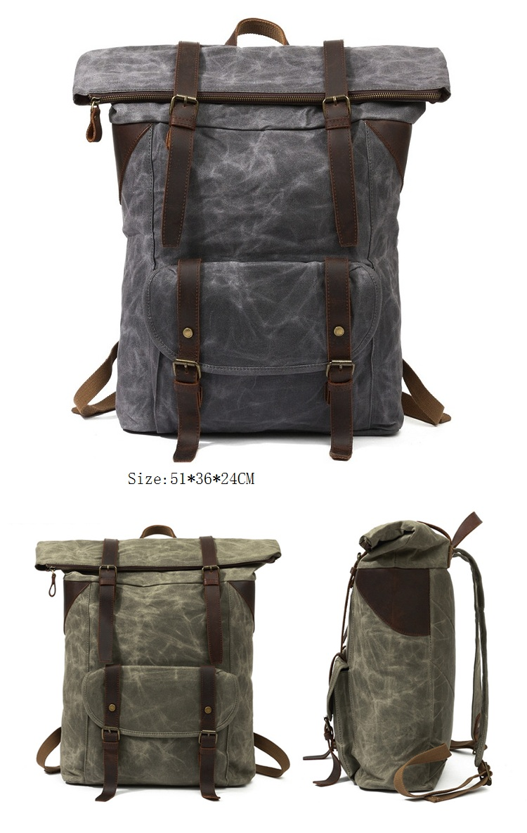 Outdoor high quality waxed canvas large capacity waterproof hiking travelling backpack bagpack back pack bag
