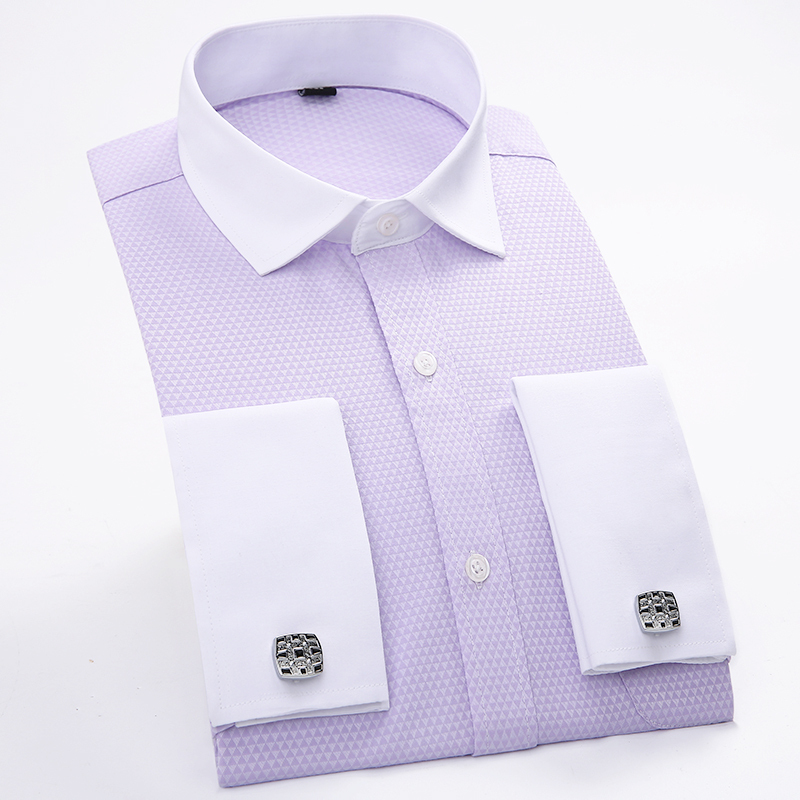 new arrival mens top quality fashion clothes mens dress shirts men solid color french shirt