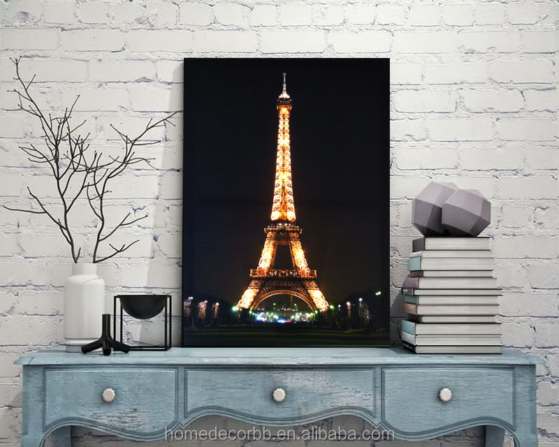 Eiffel tower at night in pairs picture canvas painting with led light modern wall art home decorative cheap giclee print
