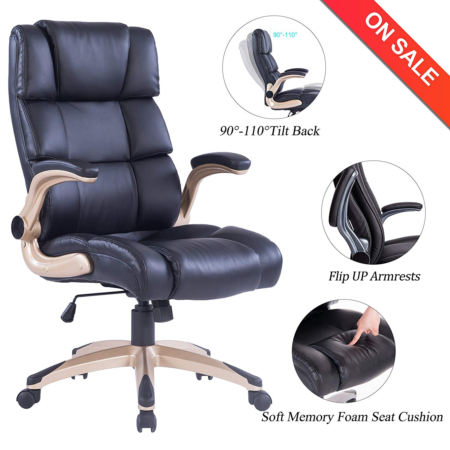 VANBOW High Back Office Chair - Ergonomic PU Leather Computer Desk Executive Chair, Adjustable Padded Flip-up Arms, Thick Memory Foam Seat Cushion & 360 Degree Rotation for Office Workers & Students