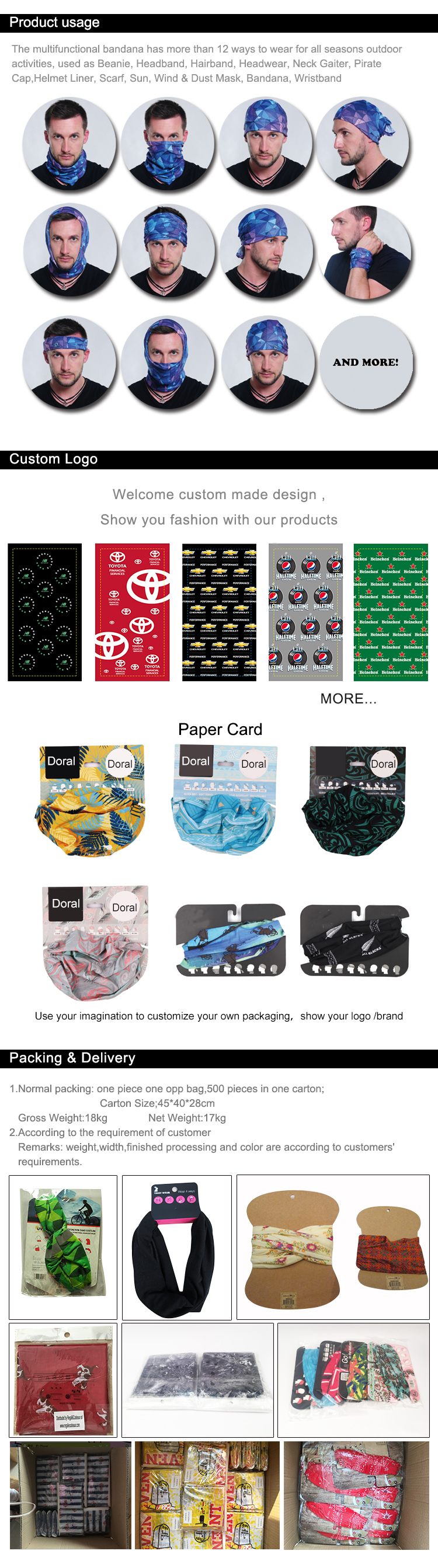 Custom Logo Printed Multifunctional Bandanas Headwear