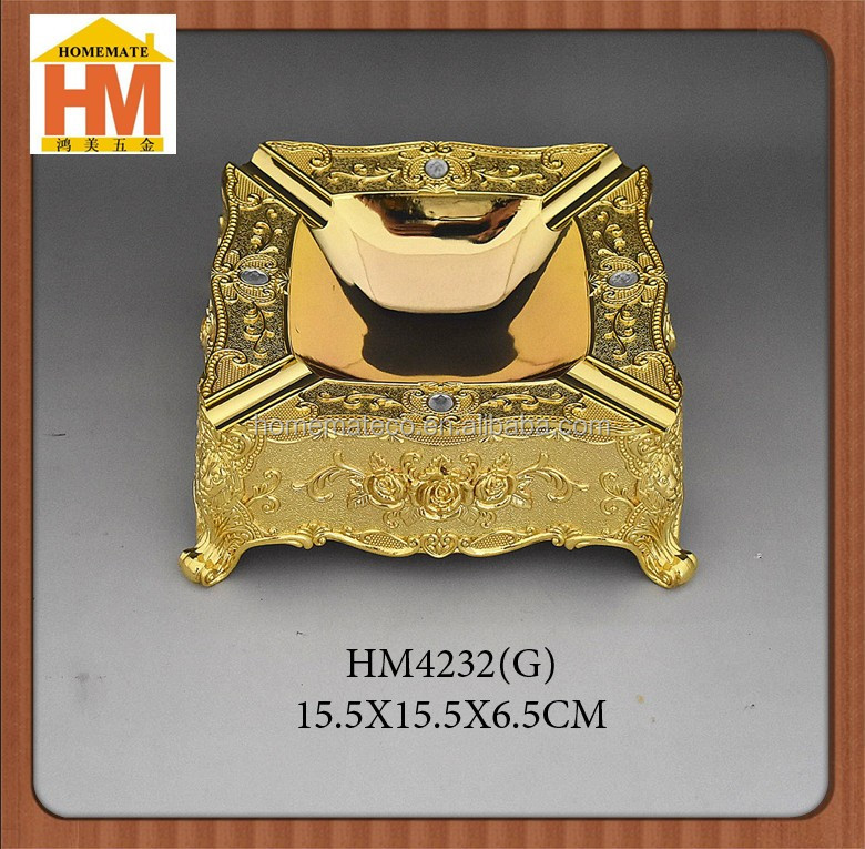 High quality smoking accessories golden metal ashtray, KTV/hotel tableware smoking ashtray