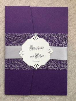 Purple Pocket Fold Metallic Lace Wedding Invitation With Crystal