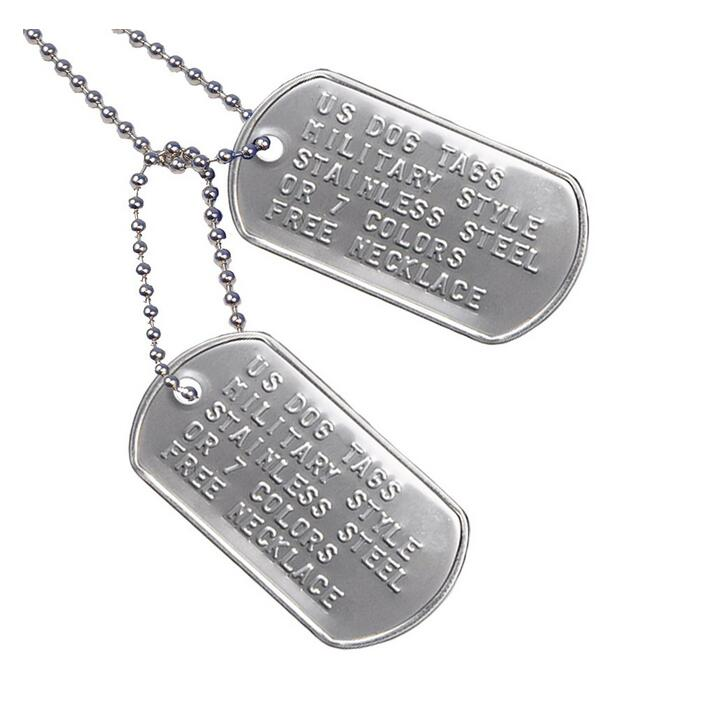 Custom blank US military dog tag Personalized ID military dogtags
