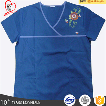 Embroidery Y-neck colorful medical scrubs wholesale nursing scrubs