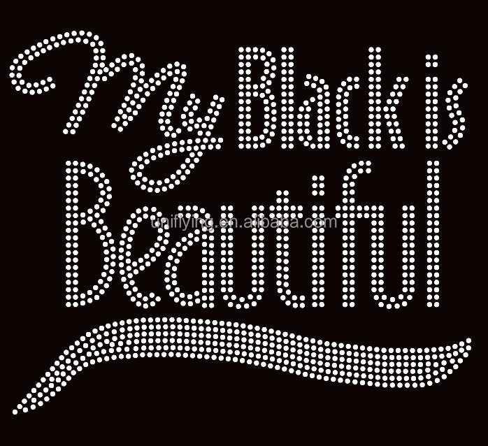 My Black is Beautiful Afro Rhinestone Transfer 9.2 Inches Wide custom hot fix rhinestone motif for tshirts