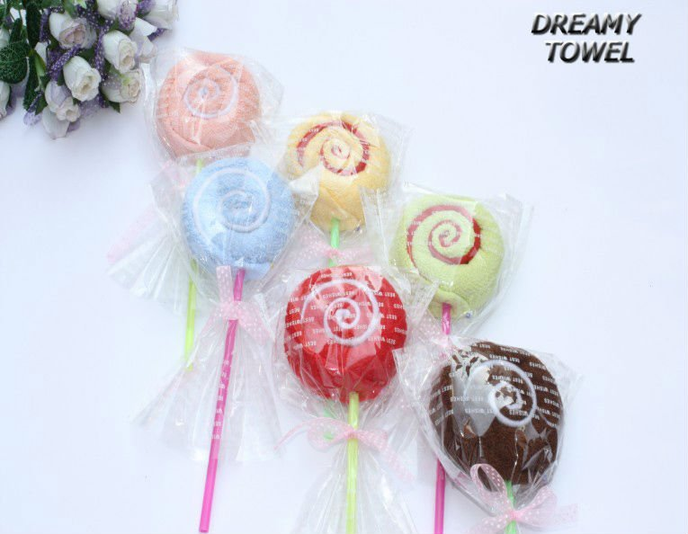 Free shpping via EMS 48pcs/ lot ,MX-26B  Big lollipop B Cake towel ,Handmade with cotton towel Children gifts Christmas gifts