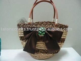 straw beach bags with ribbon accent